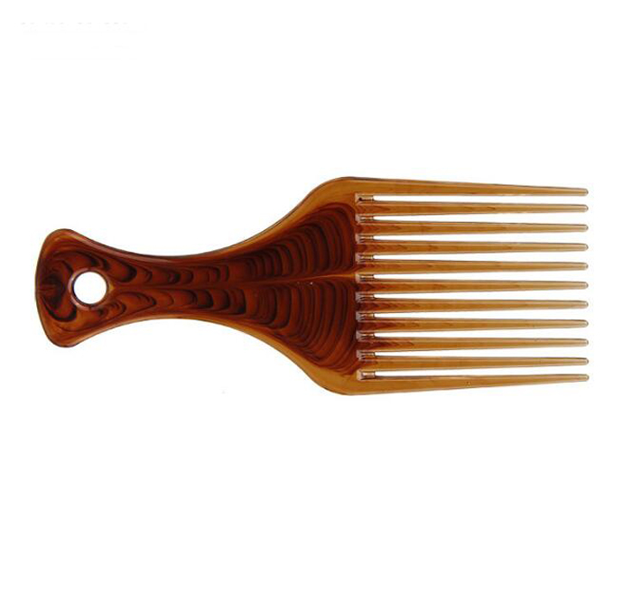 Custom Amber Color Top Quality Hair wide tooth comb large back head shape insert combs wide tooth oil head comb with printing logo