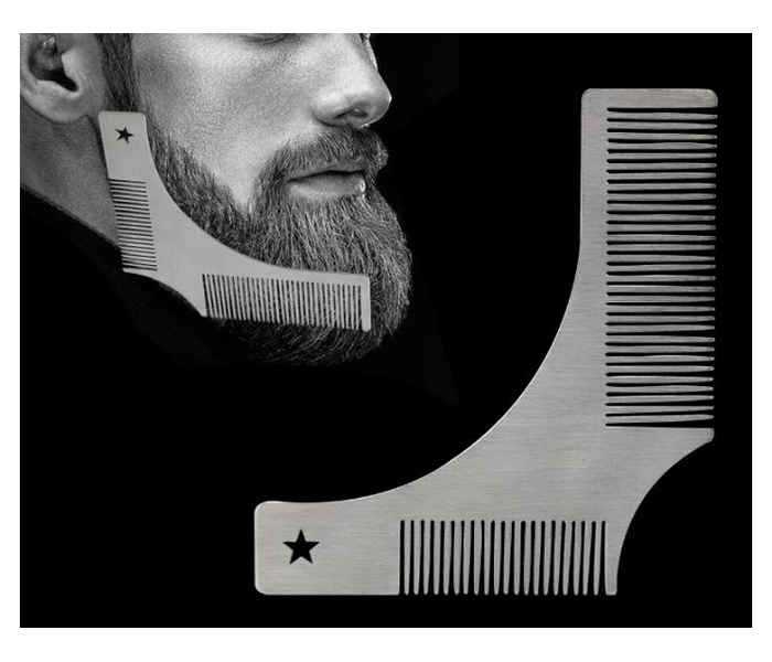 Custom logo Metal stainless steel beard shaping comb for Salon Styling Station Work Station Salon Tools high quality Barber Beauty Salon Beard styling tool
