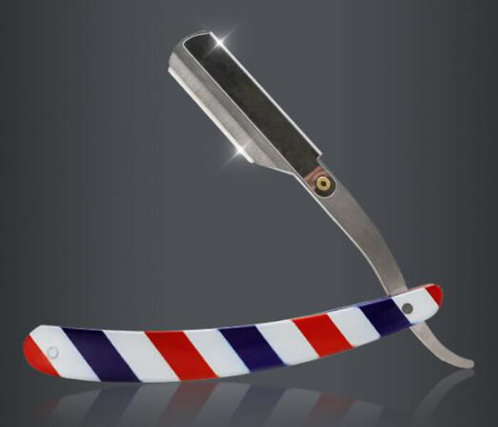 Wholesale Red White and Blue Striped barber Razor Manual Shaver Shaving Stainless Steel shaving razor