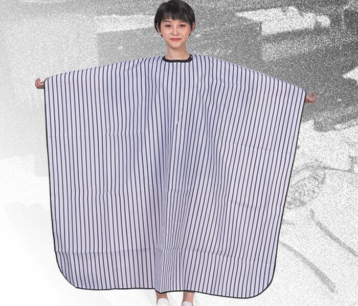 wholesale hair salon hairdressing capes black and white pinstripe adult haircut apron waterproof non-stick salon barber cape