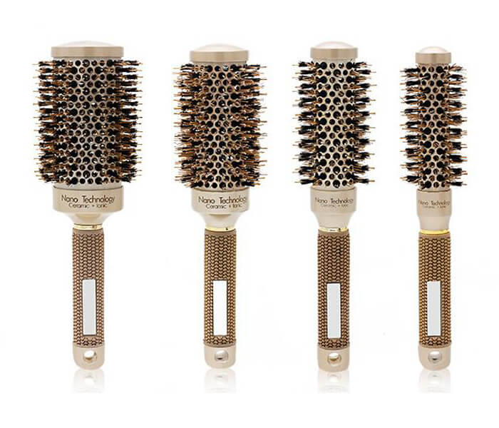 Salon Blow Drying Straightening Anti-static Boar Bristles Non-slip Rubber Handle Hair Ceramic Round Brush
