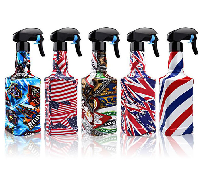 Spot barber shop hairdressing styling spray bottle can retro graffiti hand pressure spray can cross-border personality map plastic water bottle