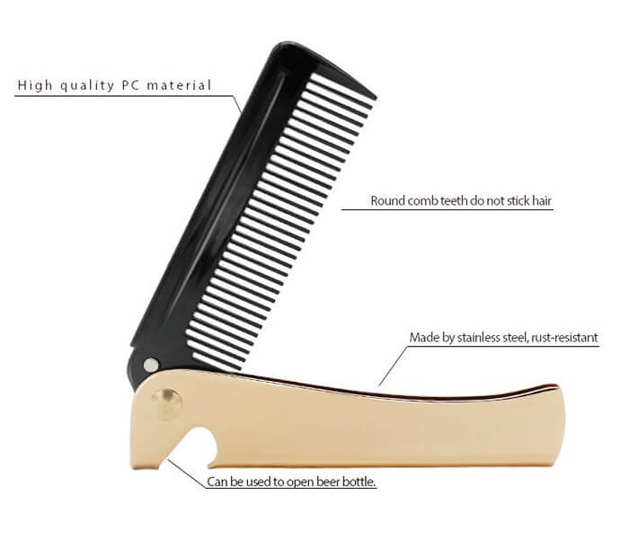 Gold The folding metal comb 02