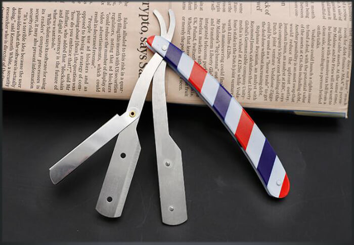 Red White and Blue Striped barber Razor shaving razor for barber salon beauty 03