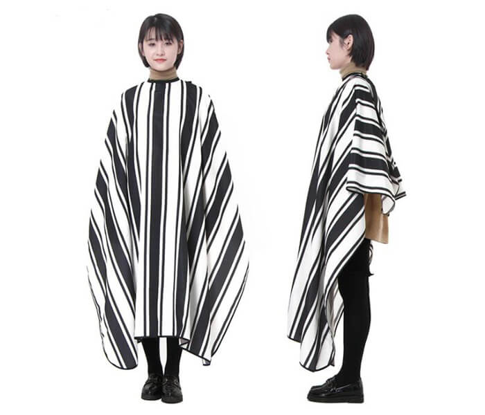 black and white striped hairdressing cape 01