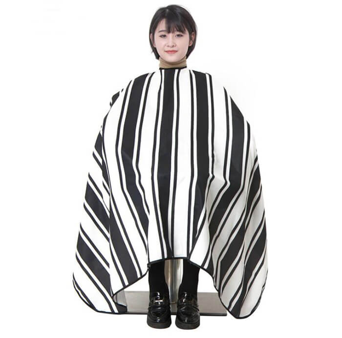 black and white striped hairdressing cape 02