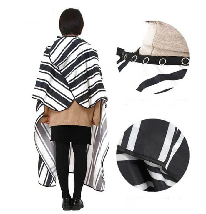 black and white striped hairdressing cape 03